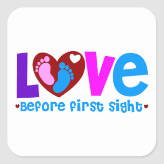 Amor antes de la primera vista pegatina cuadrada