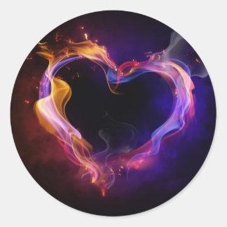 amor ardiente pegatinas redondas