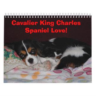 ¡Amor arrogante del perro de aguas de rey Charles! Calendario De Pared