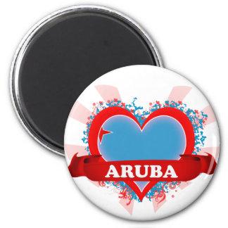 Amor Aruba del vintage I Imán Redondo 5 Cm