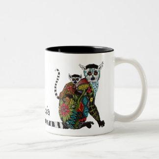 Amor atado anillo del Lemur Taza De Café De Dos Colores