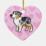 Amor australiano del pastor (añada su propio adorno de cerámica en forma de corazón