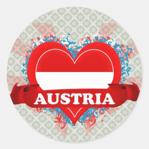 Amor Austria del vintage I Pegatina Redonda