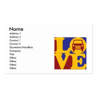 Amor auto del cuerpo tarjetas de visita