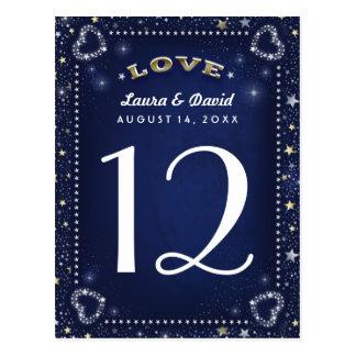 Amor azul del blanco y del oro y tarjetas del tarjeta postal