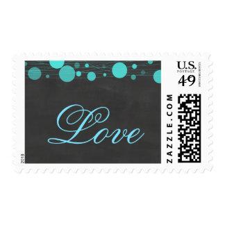 Amor azul del boda de la linterna de la pizarra sellos