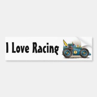 Amor azul del coche de carreras I de Indy que comp Etiqueta De Parachoque
