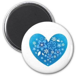 Amor azul del corazón imán redondo 5 cm