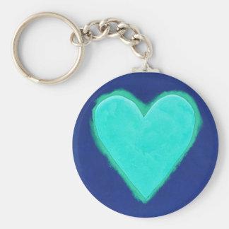 Amor azul del corazón llavero personalizado