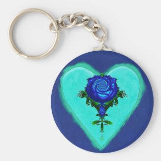 Amor azul del corazón llaveros