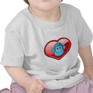Amor azul del mono camisetas
