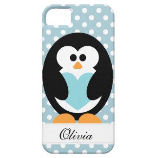 Amor azul del pingüino iPhone 5 Case-Mate protectores