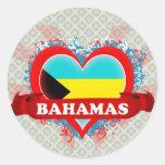 Amor Bahamas del vintage I Pegatinas Redondas