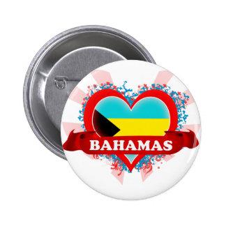 Amor Bahamas del vintage I Pin Redondo De 2 Pulgadas