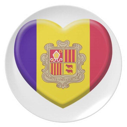 Amor bandera Andorra Platos Para Fiestas