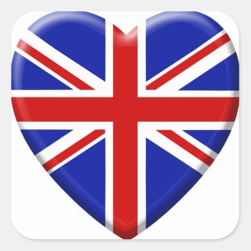 amor bandera el Reino Unido Inglaterra Pegatina Cuadrada