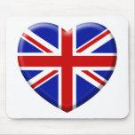 amor bandera Inglaterra Alfombrillas De Ratón