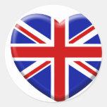 amor bandera Inglaterra Pegatina Redonda