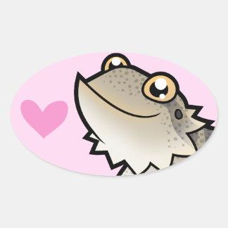 Amor barbudo del dragón/del dragón de Rankin Pegatina Ovalada