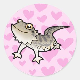 Amor barbudo del dragón/del dragón de Rankin Pegatina Redonda