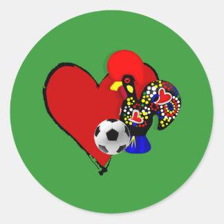 Amor, Barcelos, é Maravilhoso de Futebol - de Deus Pegatina Redonda