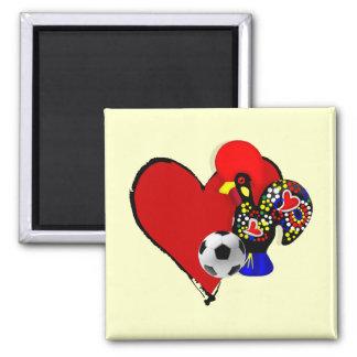Amor, Barcelos, Futebol - Deus é Maravilhoso 2 Inch Square Magnet