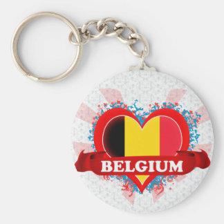 Amor Bélgica del vintage I Llavero Redondo Tipo Pin