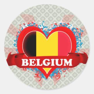 Amor Bélgica del vintage I Pegatina Redonda