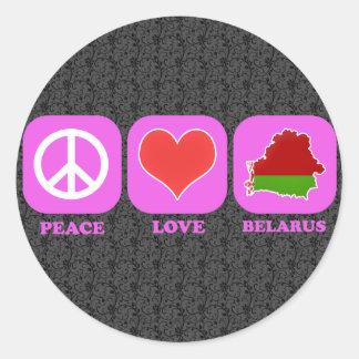 Amor Bielorrusia de la paz Pegatina Redonda