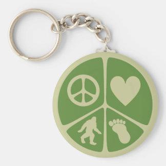 Amor Bigfoot de la paz Llavero Redondo Tipo Pin