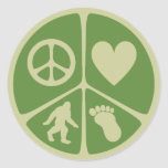 Amor Bigfoot de la paz Pegatina Redonda