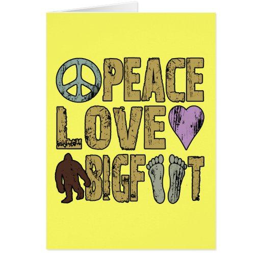 Amor Bigfoot de la paz Tarjetas