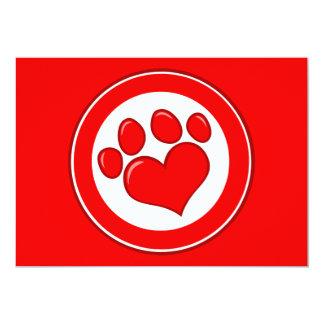 """Amor blanco rojo de las causas de los animales de invitación 5"""" x 7"""""""