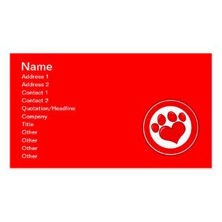 Amor blanco rojo de las causas de los animales de  tarjeta de visita