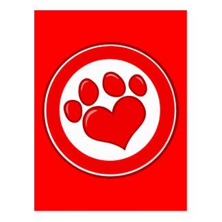Amor blanco rojo de las causas de los animales de  tarjetas postales