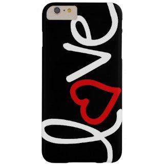 Amor blanco y negro con el corazón rojo funda de iPhone 6 plus barely there