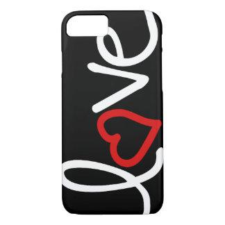Amor blanco y negro con el corazón rojo funda iPhone 7