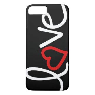 Amor blanco y negro con el corazón rojo funda iPhone 7 plus