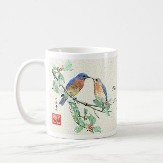 """Amor"" Bluebirds_Mug Tazas"