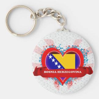 Amor Bosnia y Hercegovina del vintage I Llavero Personalizado