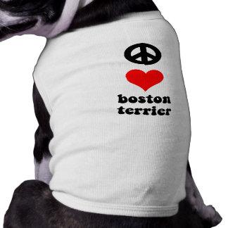 Amor Boston Terrier de la paz Playera Sin Mangas Para Perro