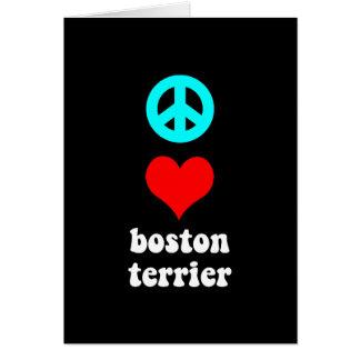 Amor Boston Terrier de la paz Felicitaciones