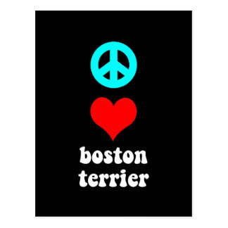 Amor Boston Terrier de la paz Tarjeta Postal