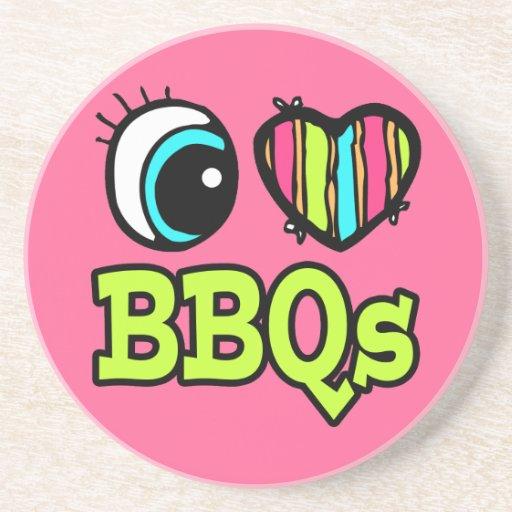 Amor brillante BBQs del corazón I del ojo Posavasos Manualidades