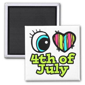 Amor brillante del corazón I del ojo el 4 de julio Imán Para Frigorífico