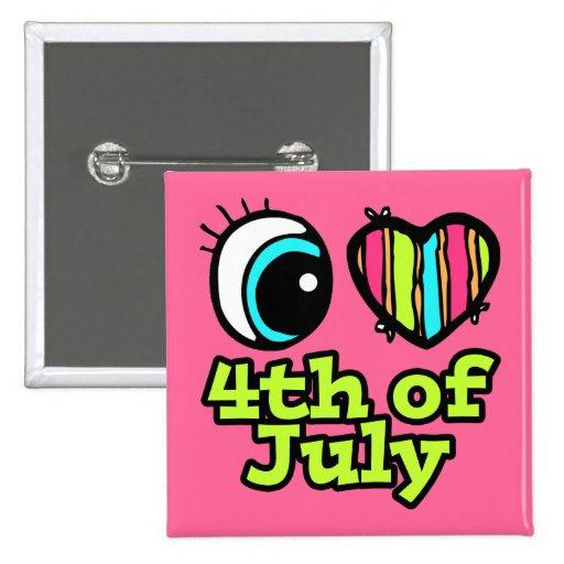Amor brillante del corazón I del ojo el 4 de julio Pin