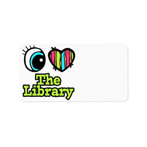 Amor brillante del corazón I del ojo la biblioteca Etiqueta De Dirección