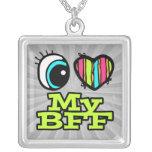 Amor brillante del corazón I del ojo mi BFF Pendiente Personalizado