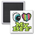 Amor brillante del corazón I del ojo mi BFF Imán De Frigorifico