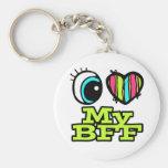Amor brillante del corazón I del ojo mi BFF Llavero Personalizado